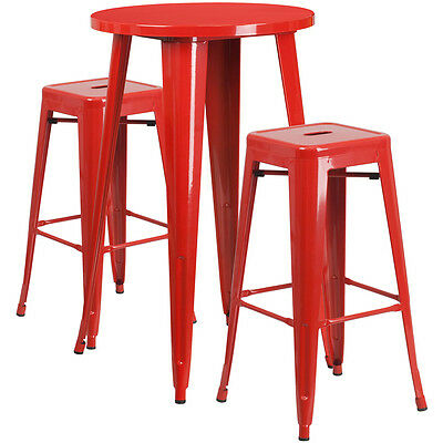 Flash Furniture 24'' Round Red Metal Indoor-Outdoor Bar Table Set with 2...