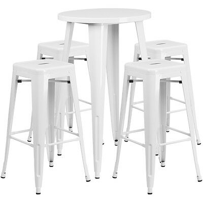 Flash Furniture 24'' Round White Metal Indoor-Outdoor Bar Table Set with 4...