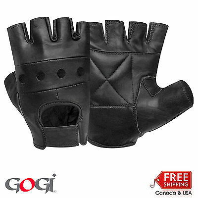 Half Finger Cycle Weight Lifting Driving Motorbike Gloves 100 % Real Leather Blk
