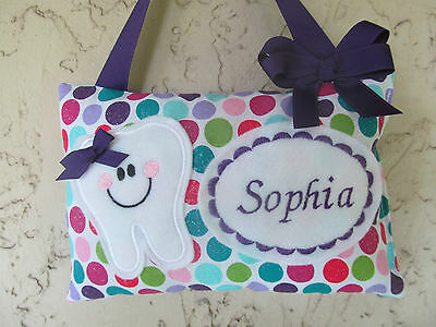 Tooth Fairy Pillow Personalized Sparkling Polka Dot with Purple