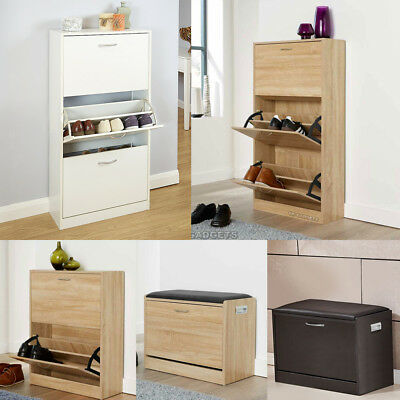 Wooden Shoe Rack Storage Cabinet Drawer Footwear Stand Unit Cupboard Furniture