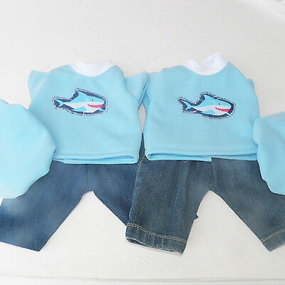 "bitty baby clothes 15"" BOY or twin doll Shark Blue Jean Shorts Cap handmade 3pc"