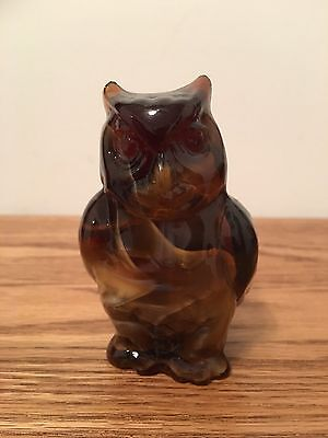 Imperial Glass Owl Brown Slag End of Day