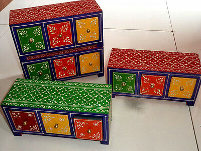 Wooden Handcrafted Hand Painted Embossed Christmas Drawer Chest Gift Box India