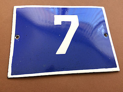 ANTIQUE VINTAGE FRENCH ENAMEL SIGN HOUSE NUMBER 7 DOOR GATE SIGN BLUE 1950's
