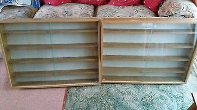 Pair of model toy, train, china display cabinets