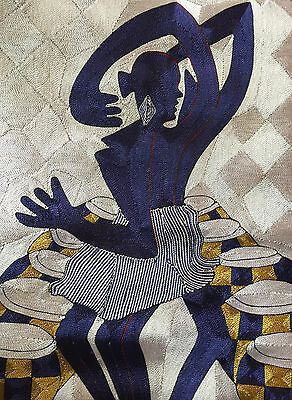 """Ethnic Folk Art Embroidery African Woman Drums Wall Hanging Tapestry 25""""x17.5"""""""