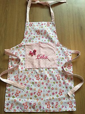 Personalised Childrens Apron , Girls Flowers And Love Hearts ��