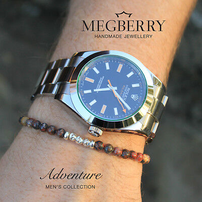 MEGBERRY Mens Leopardskin Jasper Gemstone 925 Sterling Silver Beaded Bracelet UK
