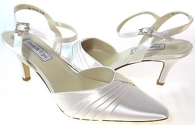 Touch Ups Zeta Women's White Satin Slingback Shoes, #253