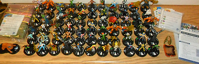 Lot of 67 Heroclix with Map and Cards, DC, Marvel