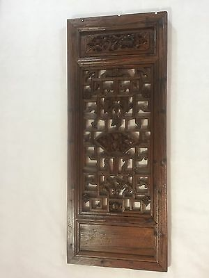 Antique Hand Carved Wood Chinese Window Shutter