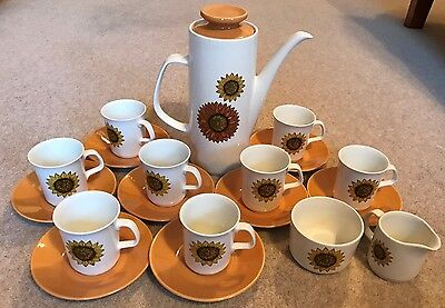 Retro J&g Meakin Studio Series 'palma' Sunflower Coffee Set For Eight
