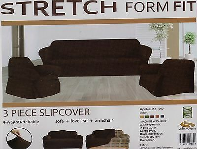 STRETCH FIT-3 Pcs Slipcover Set,Couch/Sofa+Loveseat+Chair Covers-CHOCOLATE BROWN