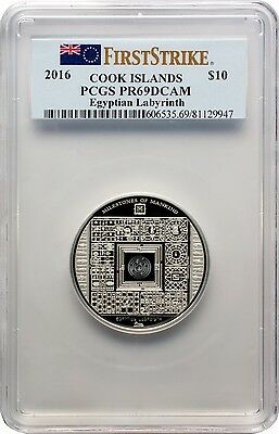 2016 $10 Cook Islands Egyptian Labyrinth Silver Proof Coin PCGS PR69DCAM FS