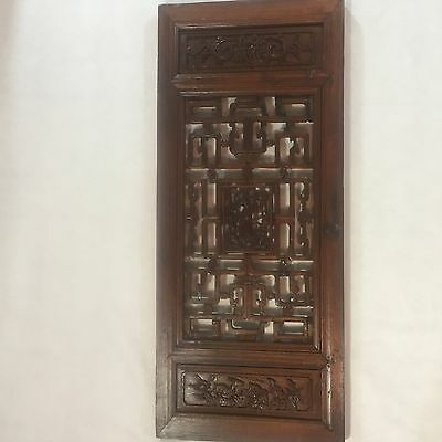 Antique Chinese Wood Hand Carved Window Shutter