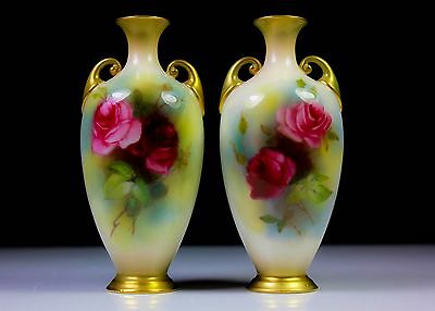 ANTIQUE PAIR OF ROYAL WORCESTER VASES PAINTED ROSES 287 c.1915