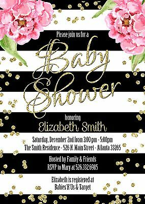 Black & White Stripes Pink Peony Gold Glitter accents Baby Shower Invitations
