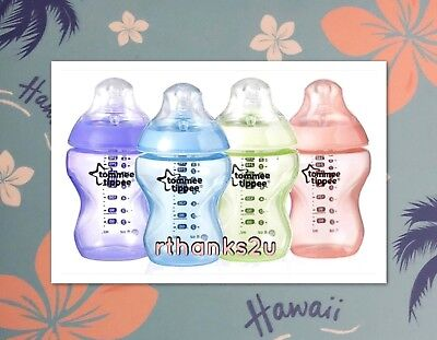 Tommee Tippee Closer To Nature Colour My World Feeding Bottles 260ml x 6 - Girl