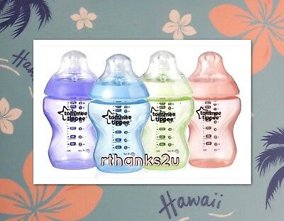 Tommee Tippee Closer to Nature Hawaii Bottles 260ml x 4 - With Anti-Colic Valve