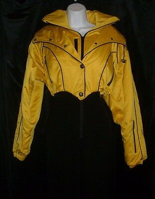 Vintage Womens Nils One Piece Snow Skiwear Ski Suit Yellow Size 8 Stirrup Pants
