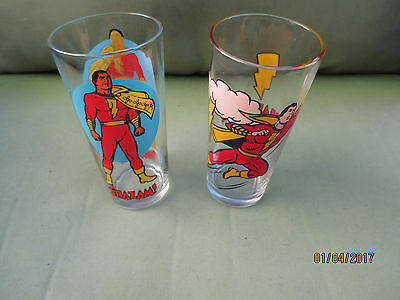 Set of 2 VINTAGE 1976 1978 Pepsi Collector  DC COMICS Drinking Glasses SHAZAM