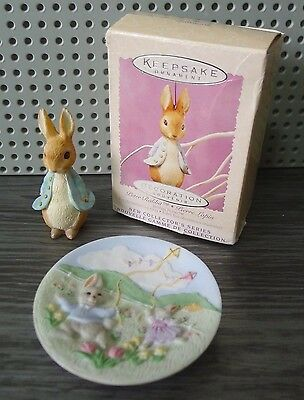 Hallmark Peter Rabbit Ornament 1st in Series 1996 And Catching Breeze Mini Plate