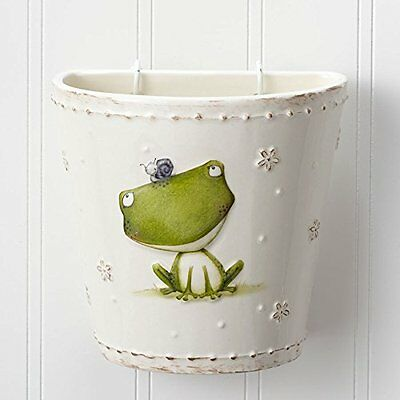 Enesco Stacy Yacula Frog Wall Pocket Planter 5in Vertical & Wall Planter, New