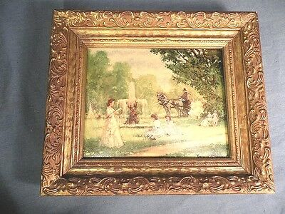 ORNATE FRAME with TEXTURED ART PRINT of OUTDOOR PARK GENRE SCENE