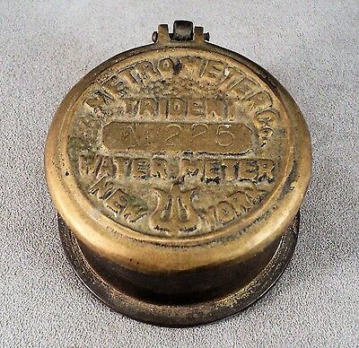 Vtg Brass New York Water Meter Trident Hinged Lid Container Box - Estate Find