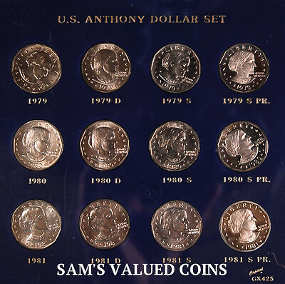 1979 - 1981 Susan Anthony  US Dollar 12 Coin Set - P, D, S and Proof of each Yr.