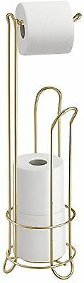 InterDesign Classico Bathroom Free Standing Toilet Tissue Roll Stand Plus, Gold