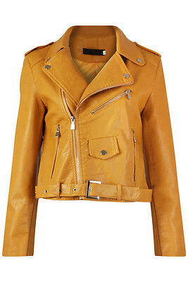 New Womens Ladies Faux Leather Belted Zipped Biker Jacket