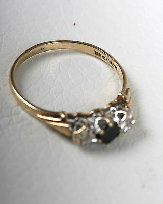 Vintage 9K Gold  Sapphire and Diamond Ring