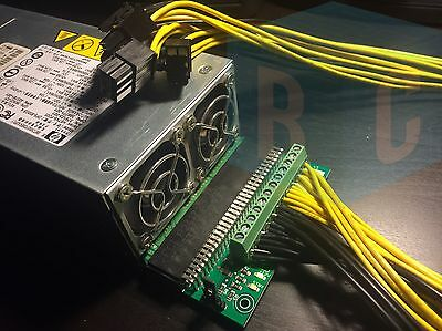 Bitcoin Mining Kit: Gigampz Board + 800w-1000W PSU + 4 PCIe Cables - USA SELLER!