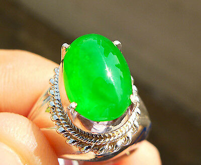 100% Natural Untreated Imperial Green Jadeite Jade Type A 5.5 cts Cabochon Ring