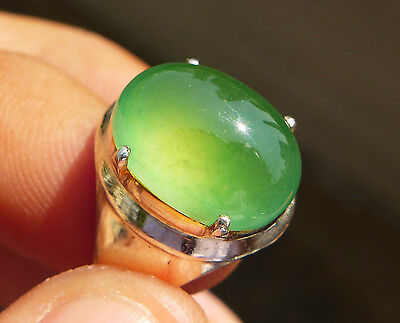 100% Natural Untreated Icy Green Jadeite Jade Type A Transparent Cabochon Ring