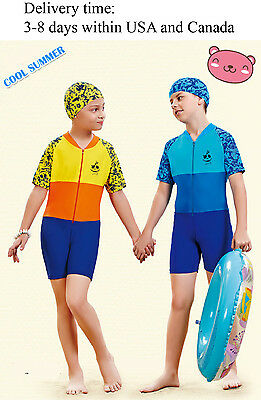 Y0327 one piece Beach swimsuit for boys and girls-1 piece Rash guard kids