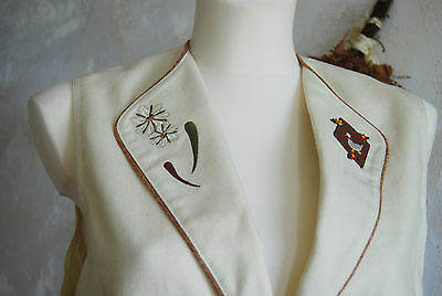 bautiful quality linen lined vintage ladies embroidery folk Austrian waistcoat
