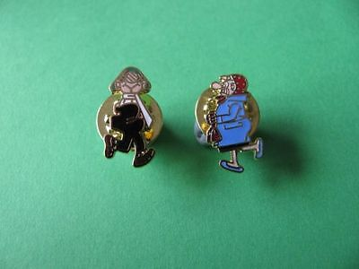 """ Andy Capp & Flo "" Enamel Pin Badge.  Manns Beer & Daily Mirror Newspaper."