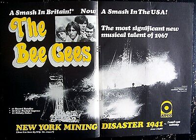 BEE GEES 1967 Poster Ad NEW YORK MINING DISASTER 1941