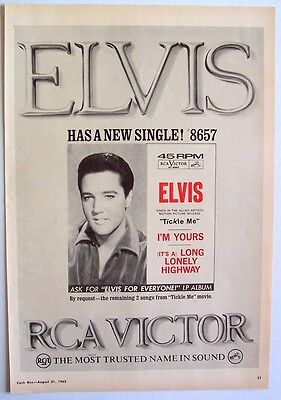 ELVIS PRESLEY 1965 Poster Ad I'M YOURS LONG LONELY HIGHWAY tickle me