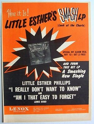 LITTLE ESTHER PHILLIPS 1963 Poster Ad RELEASE ME lenox records