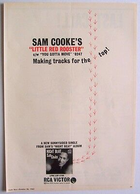 SAM COOKE 1963 Poster Ad LITTLE RED ROOSTER night beat You Gotta Move