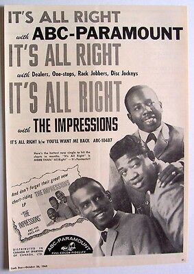 THE IMPRESSIONS 1963 Poster Ad IT'S ALL RIGHT