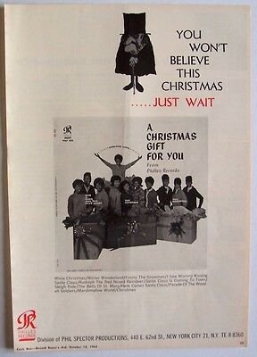 THE RONETTES CRYSTALS 1963 Poster Ad A CHRISTMAS GIFT FOR YOU FROM PHIL SPECTOR