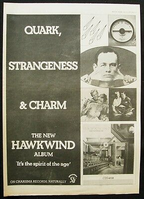 HAWKWIND 1977 Poster Ad QUARK STRANGENESS AND CHARM