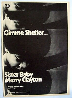 MERRY CLAYTON 1970 Poster Ad GIMME SHELTER