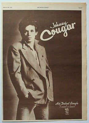 JOHNNY COUGAR 1978 Poster Ad I NEED A LOVER mellencamp