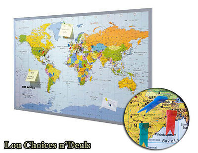 World Map Wall Mounted Pinboard Memo Notice Office Home Framed Board Pins Large